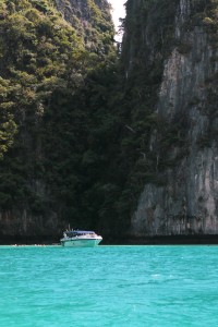 Speedboat heading to Maya Beach
