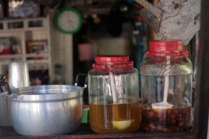 Home made juices: chrysanthemum and lychee